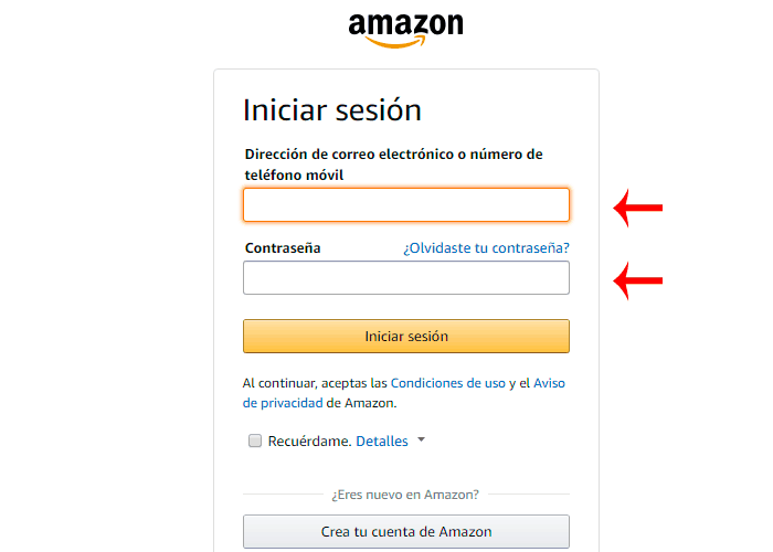 Iniciar sesión en Amazon